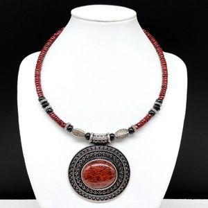 Premier Designs Beaded Choker Statement Necklace Red Faux Stone Cabochon Boho